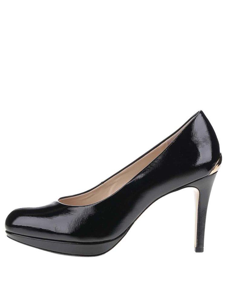 Pantofi negri Högl din piele cu detaliu auriu