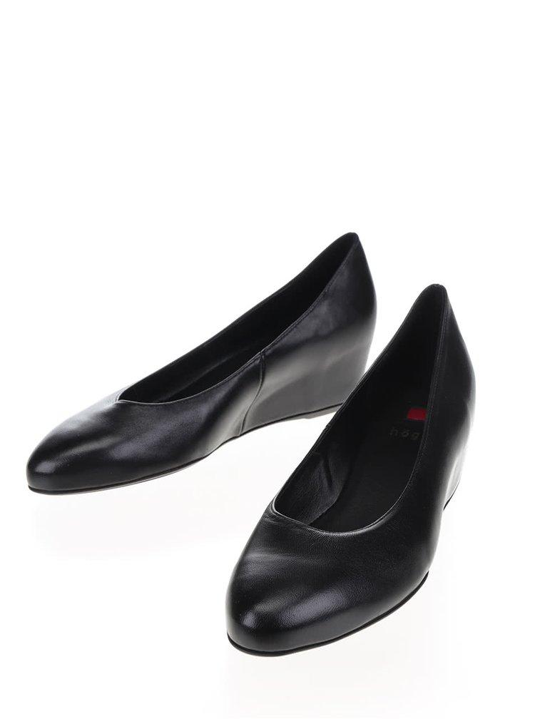 Černé kožené boty na klínku Högl
