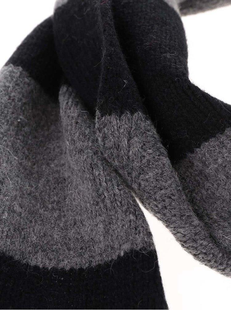 Černo-šedá vlněná pruhovaná šála Dice