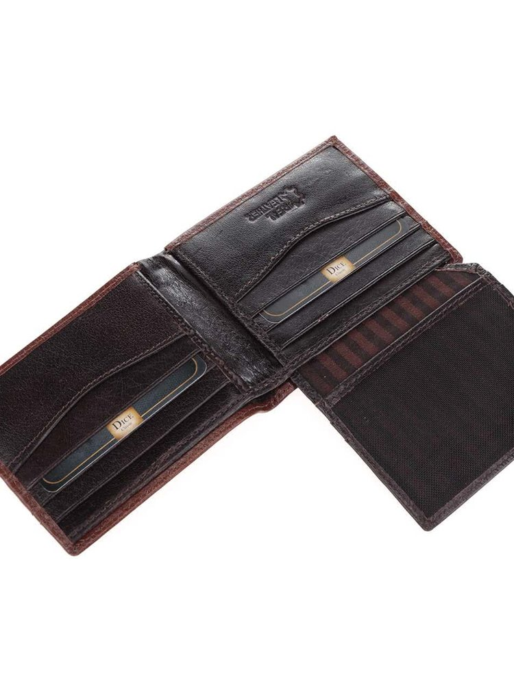 Set portofel maro din piele & breloc cu cutit multifunctional Dice