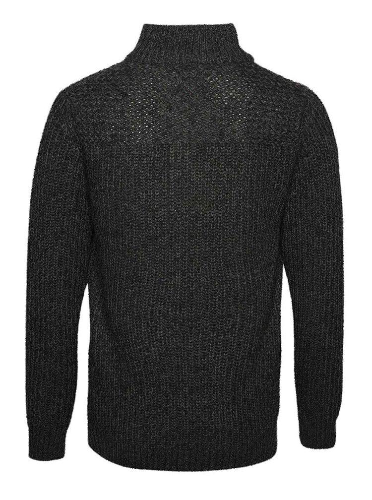 Tmavě šedý žíhaný svetr s knoflíky Blend