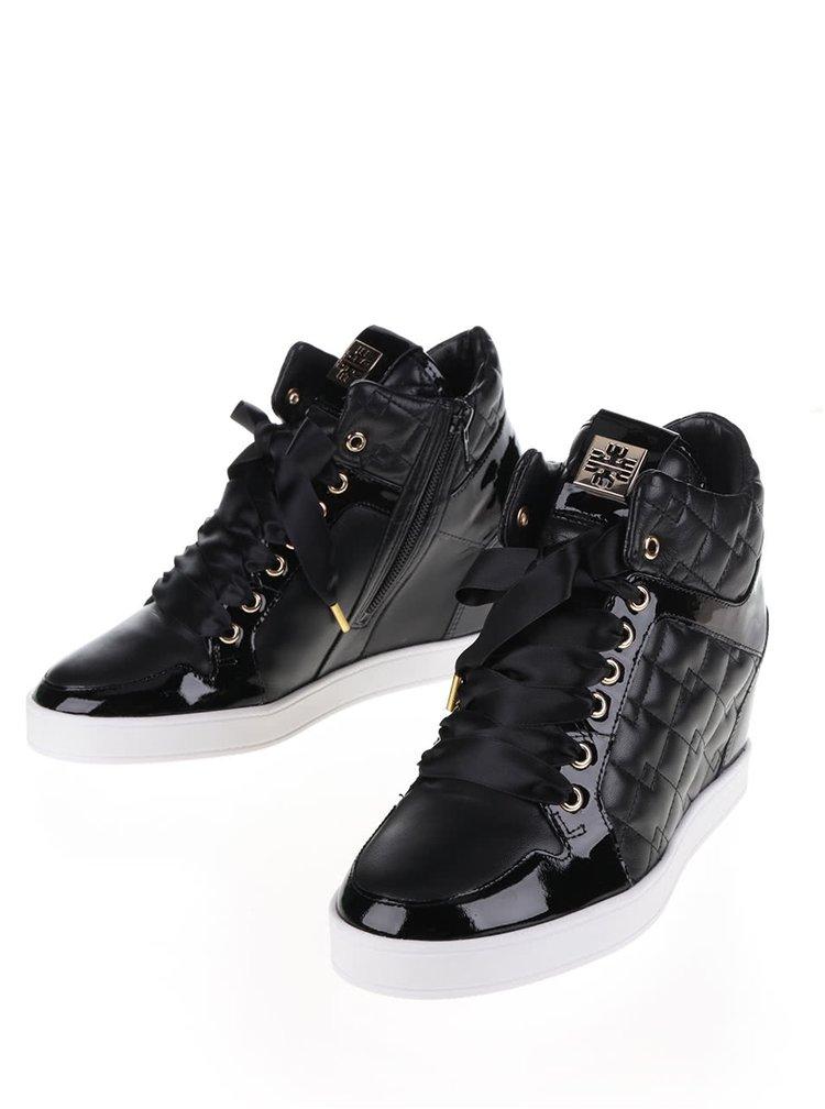 Pantofi sport negri Högl cu platformă și detaliu matlasat