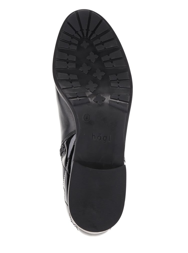 Cizme scurte negre Högl cu detaliu matlasat cu aspect lucios