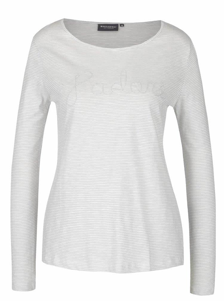 Krémovo-šedé dámské pruhované tričko s dlouhým rukávem Broadway Betty