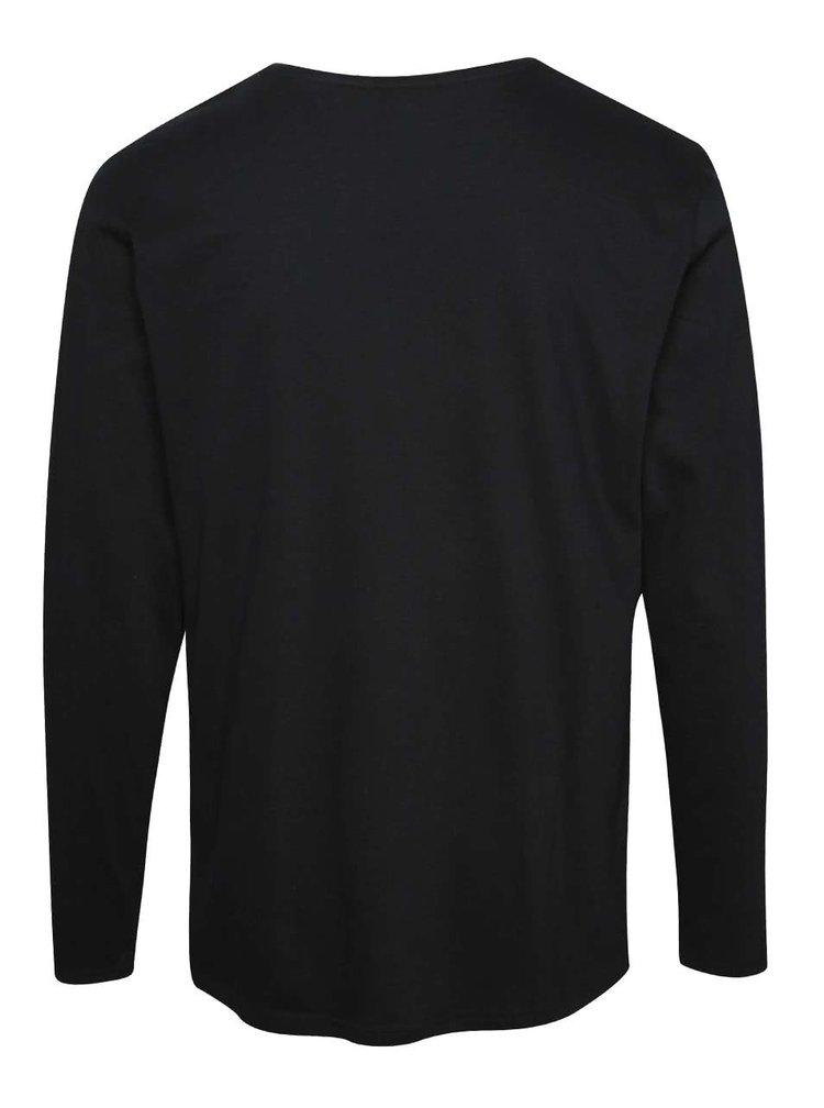 Černé pánské triko s dlouhým rukávem Broadway