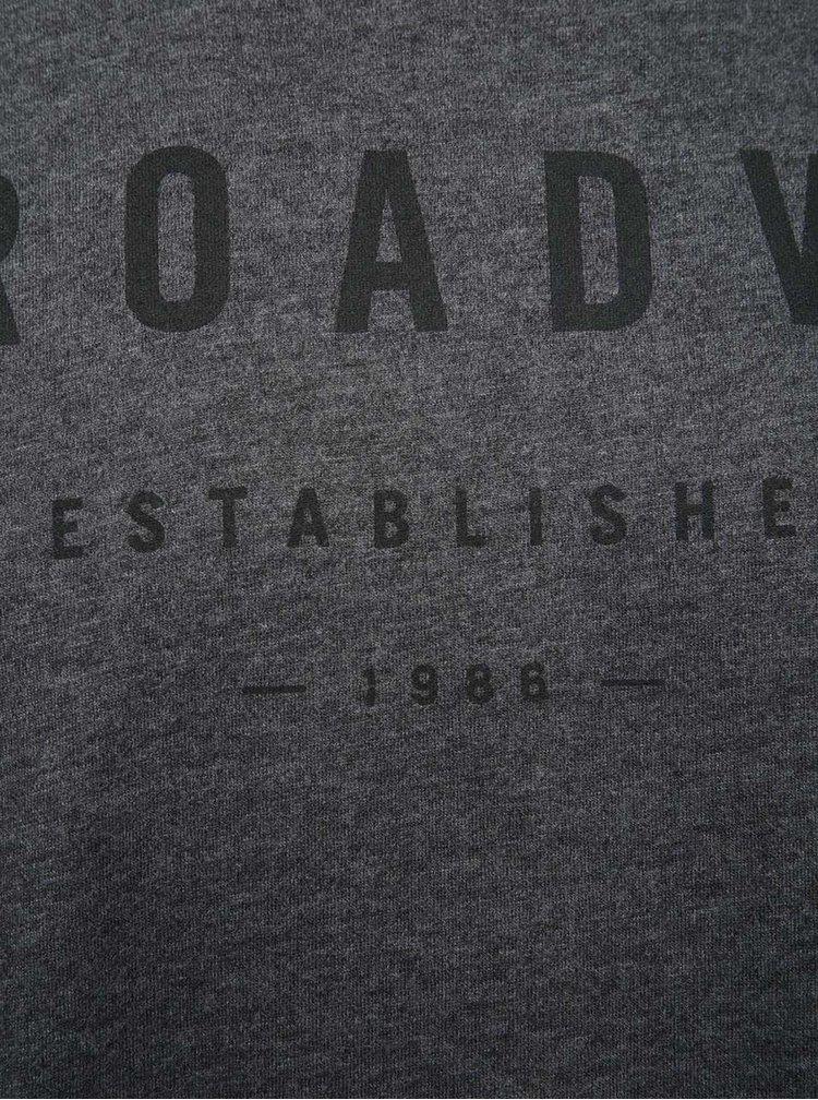 Šedé žíhané pánské triko s dlouhým rukávem Broadway