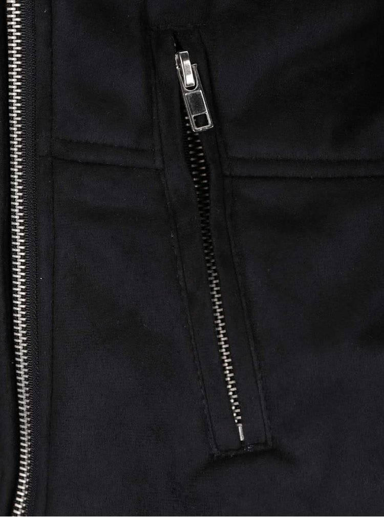 Jachetă neagră cu aspect de piele întoarsă Broadway Taitum