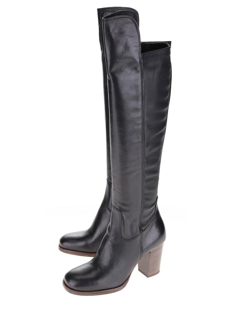 Čierne vysoké kožené čižmy s hnedým podpätkom Tamaris