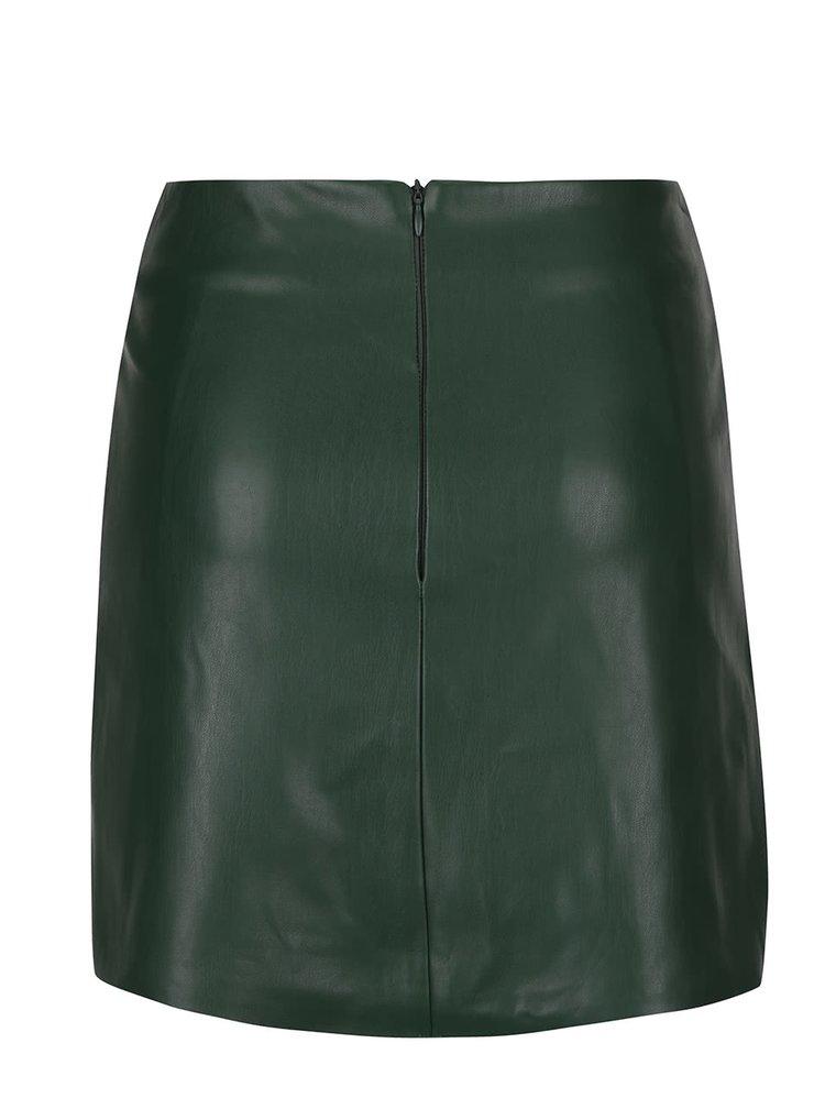 Tmavě zelená koženková sukně Miss Selfridge