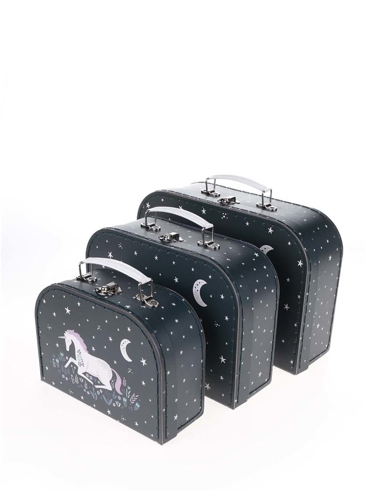 Sada tří černých kufříků s motivem jednorožce Sass & Belle
