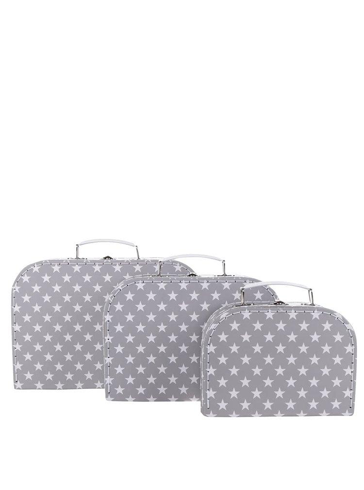 Sada tří kufříků v šedé barvě s motivem hvězd Sass & Belle