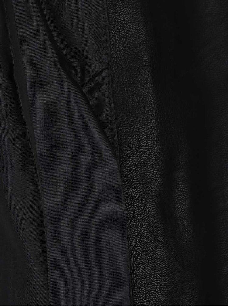 Černý koženkový křivák se zipy ve zlaté barvě Miss Selfridge Petites