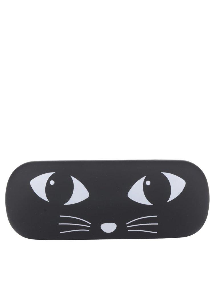 Černé pouzdro na brýle s motivem kočky Sass & Belle
