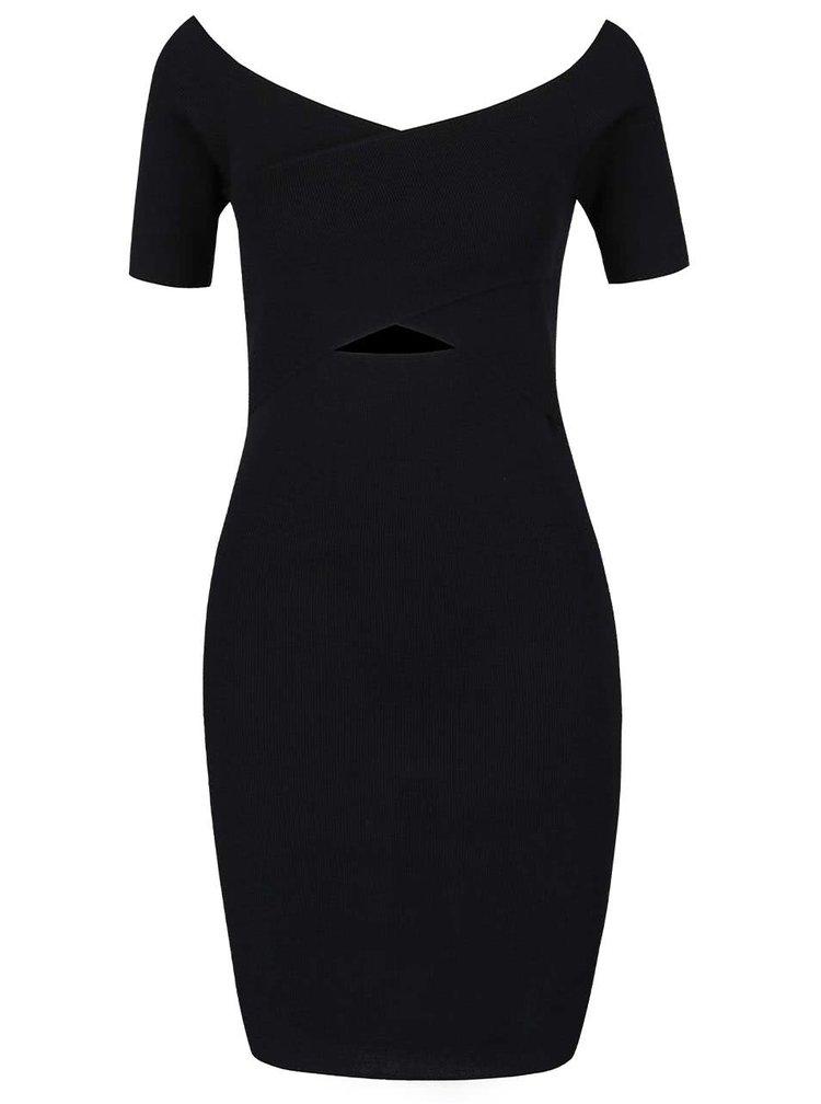Černé šaty překládaným výstřihem Miss Selfridge