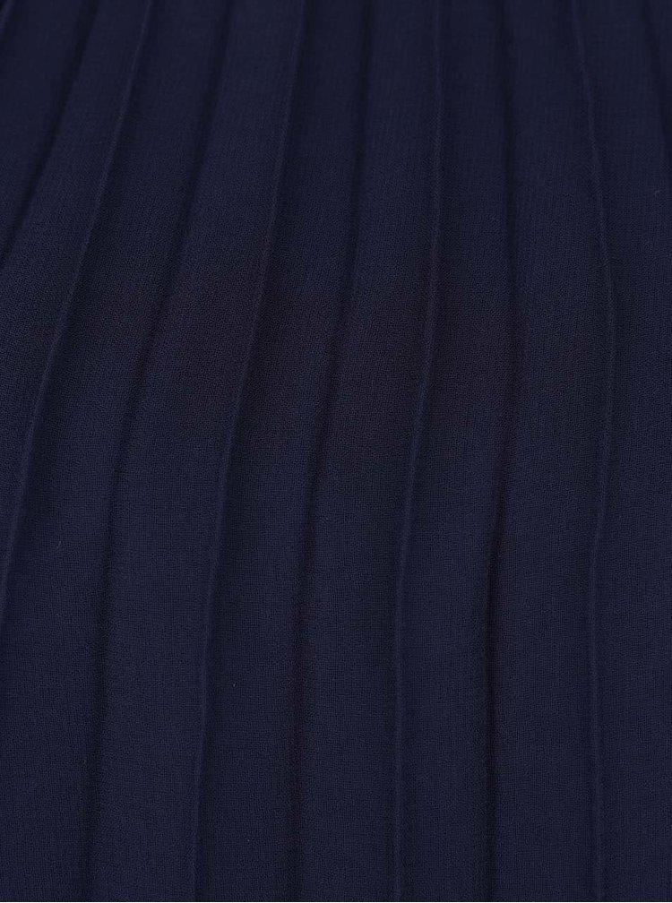 Tmavě modré skládané minišaty s detaily na ramenou Lipsy