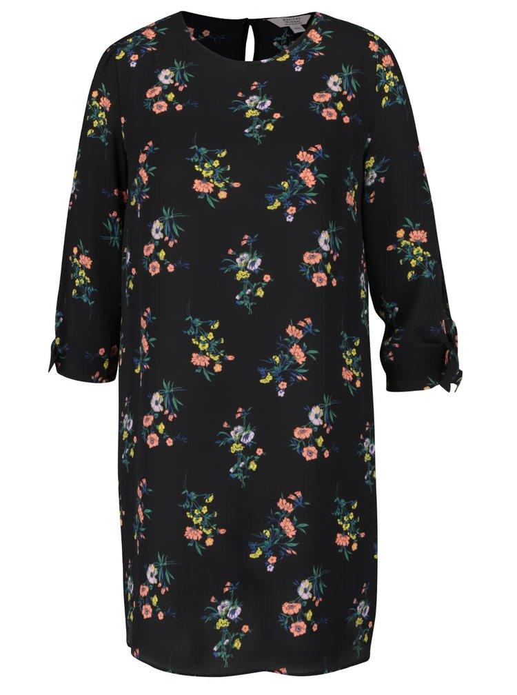 Rochie neagra cu imprimeu floral si maneci trei sferturi Miss Selfridge Petites