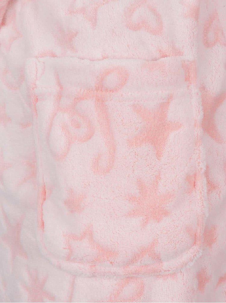 Světle růžový vzorovaný župan Lipsy Star