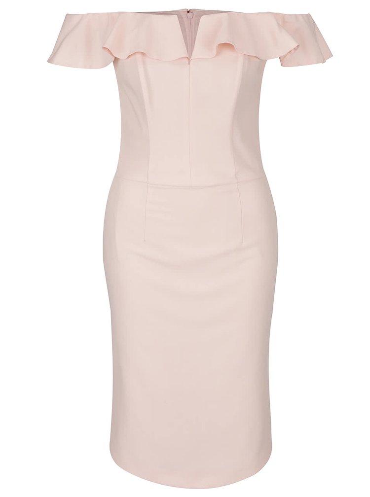 Růžové šaty s odhalenými rameny a volány Miss Selfridge