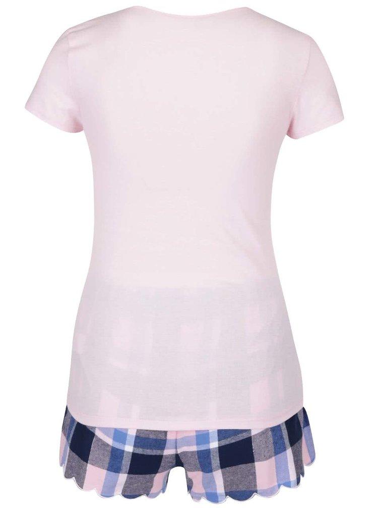 Modro-růžové pyžamo s potiskem a kamínky Lipsy Diamond