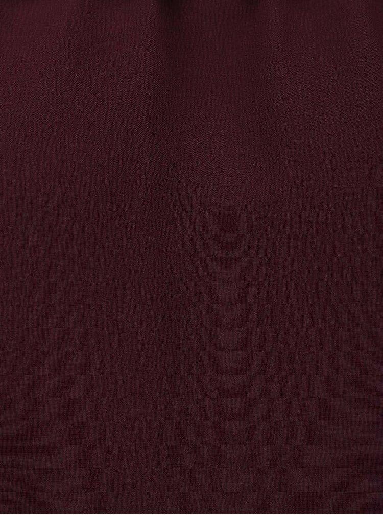Bluză vișinie Miss Selfridge cu panglici, fără umeri