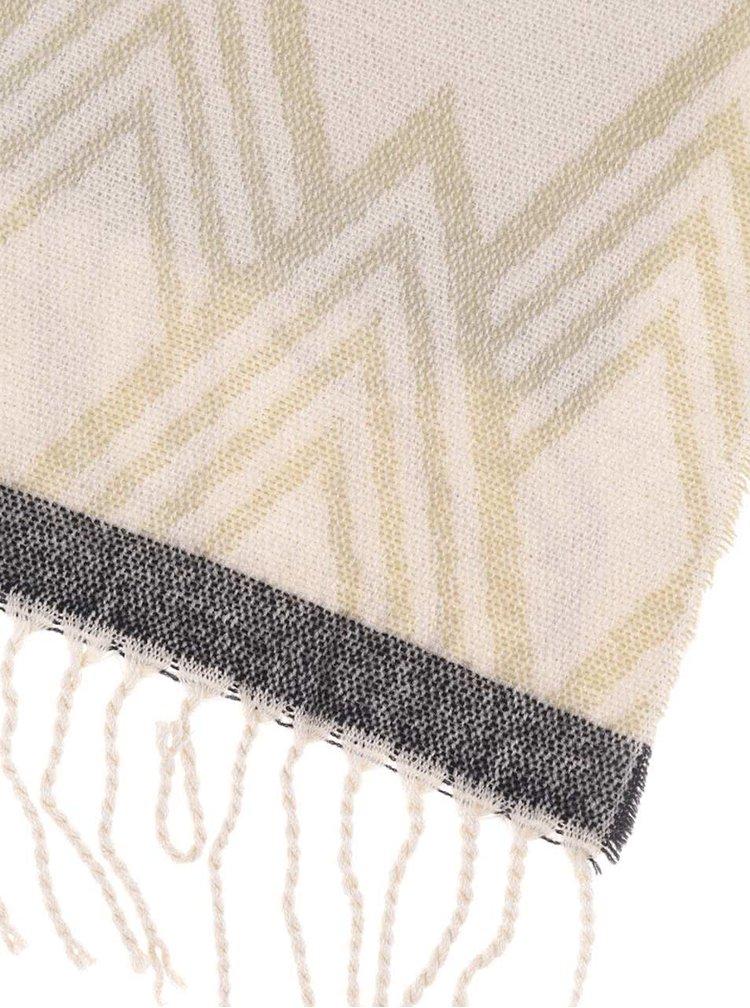 Krémovo-šedá vzorovaná šála s třásněmi Pieces Familla