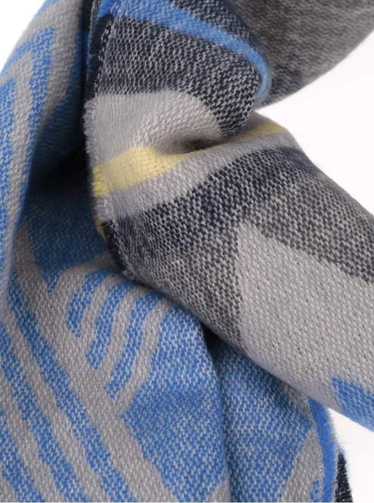Modro-šedá vzorovaná šála s třásněmi Pieces Familla