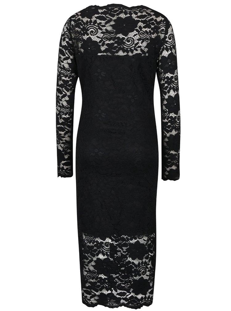 Černé krajkové šaty s dlouhým rukávem VILA Grit