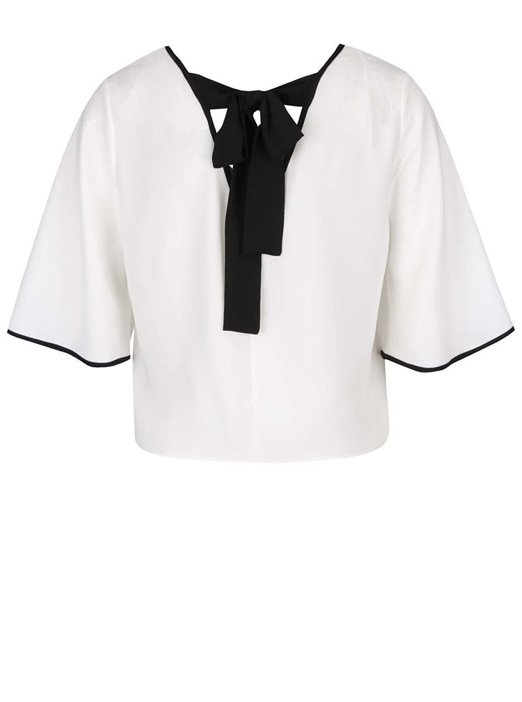 Bluză crop top crem Miss Selfridge cu panglici
