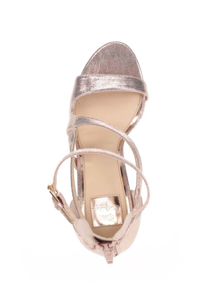 Sandálky na jehlovém podpatku v růžovozlaté barvě Miss Selfridge
