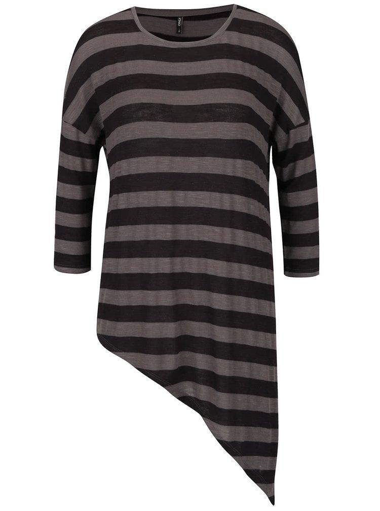 Šedo-černé pruhované asymetrické tričko s 3/4 rukávem ONLY Kirsten