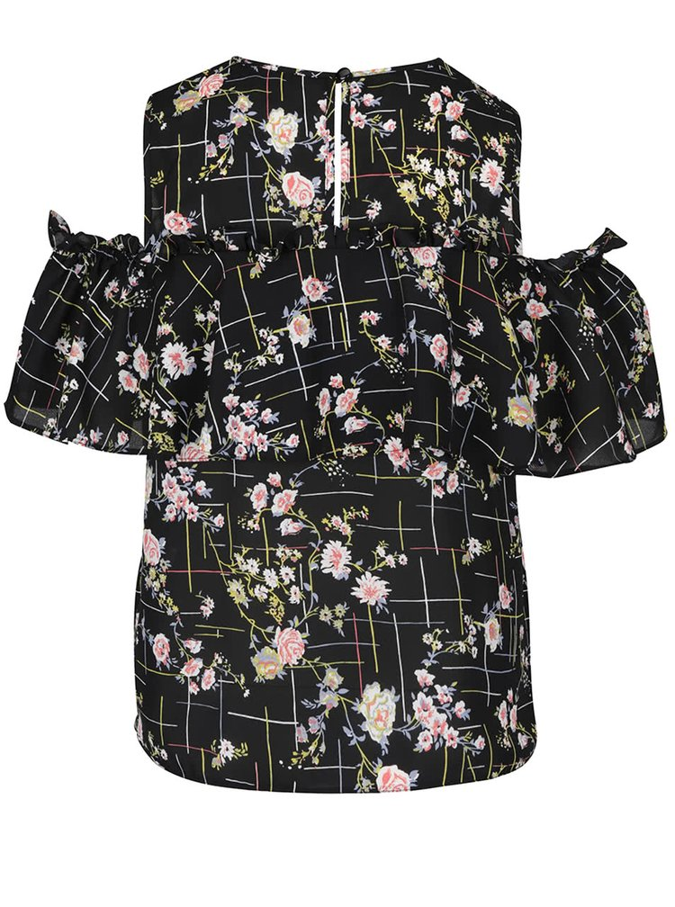 Bluza neagra Miss Selfridge cu umerii decupati si imprimeu floral