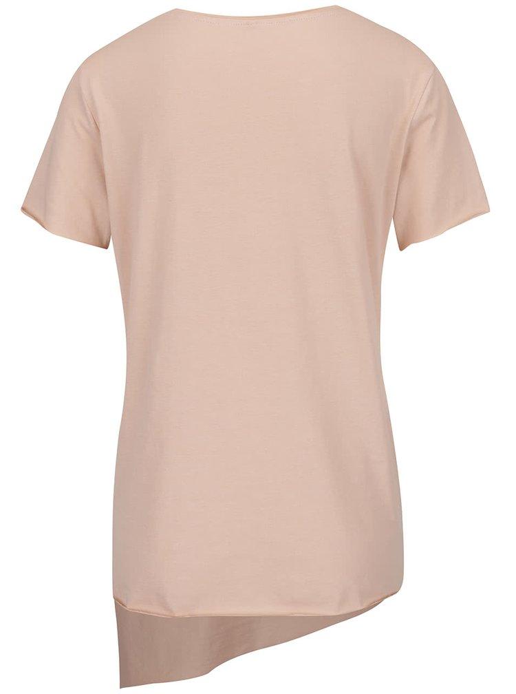 Světle růžové asymetrické tričko s krátkým rukávem ONLY Mitte