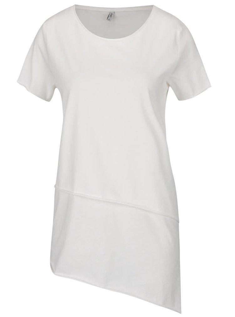 Krémové asymetrické tričko s krátkým rukávem ONLY Mitte