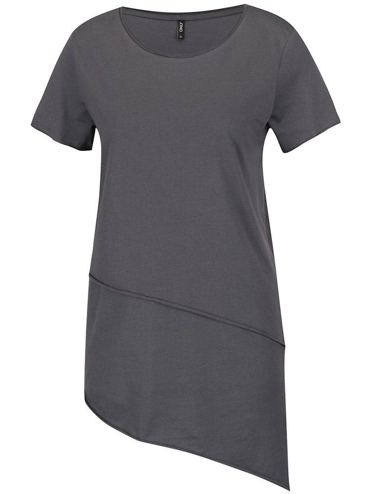 Tmavě šedé asymetrické tričko s krátkým rukávem ONLY Mitte
