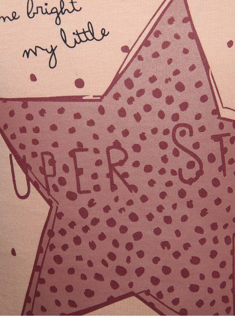 Růžové holčičí tričko s potiskem a dlouhým rukávem name it Veen
