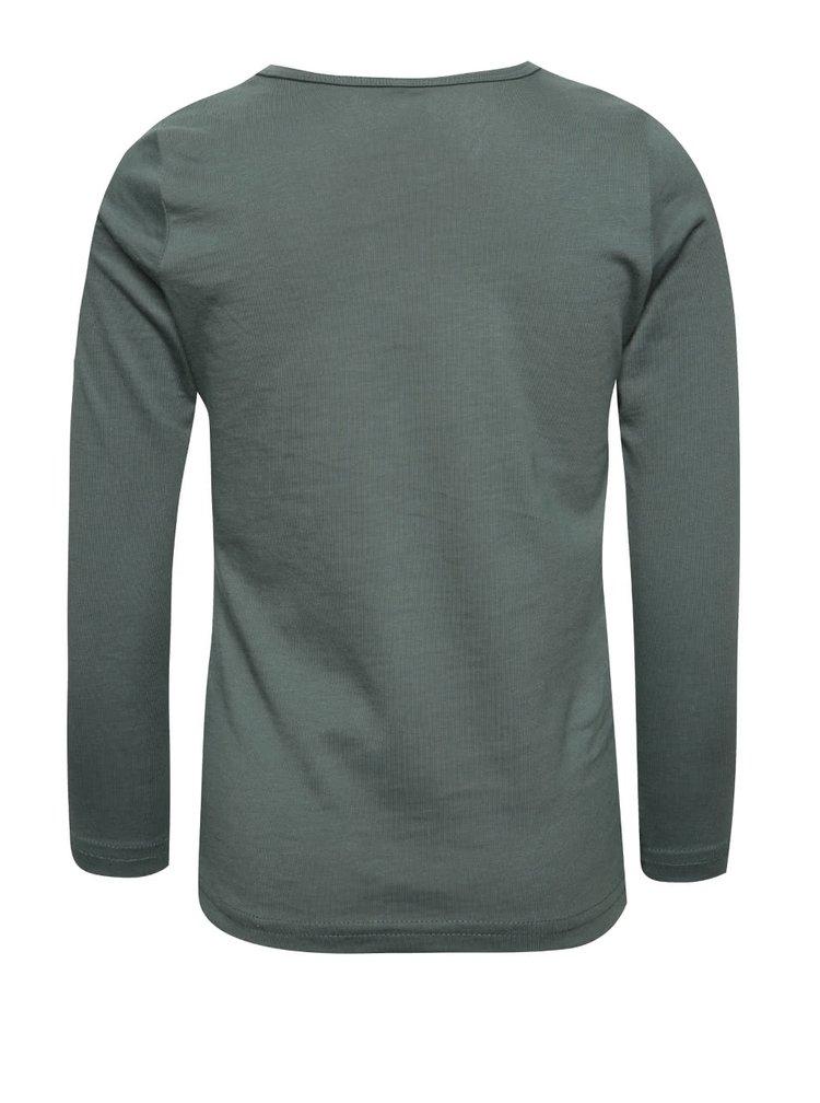 Tmavě zelené holčičí tričko s potiskem a dlouhým rukávem name it Veen