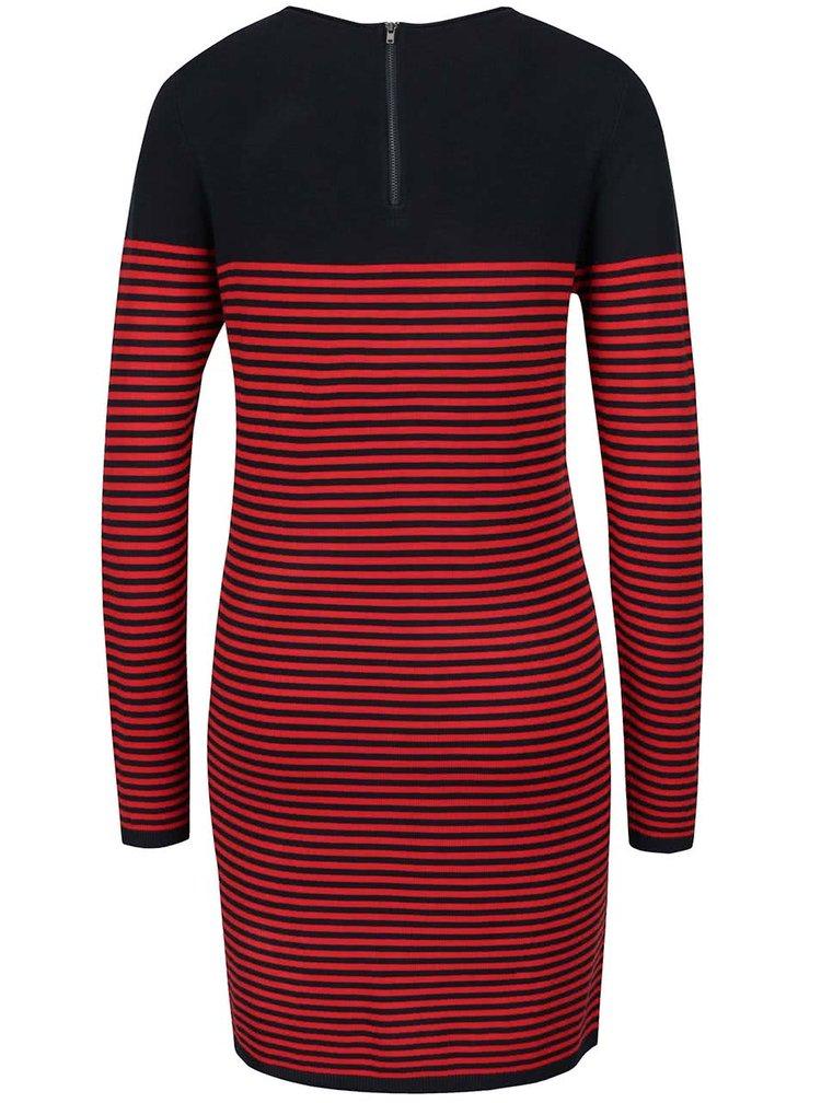 Modro-červené pruhované svetrové šaty ONLY Malaga
