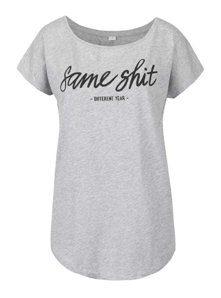 Tricou gri melanj ZOOT Original Same shit cu print pentru femei