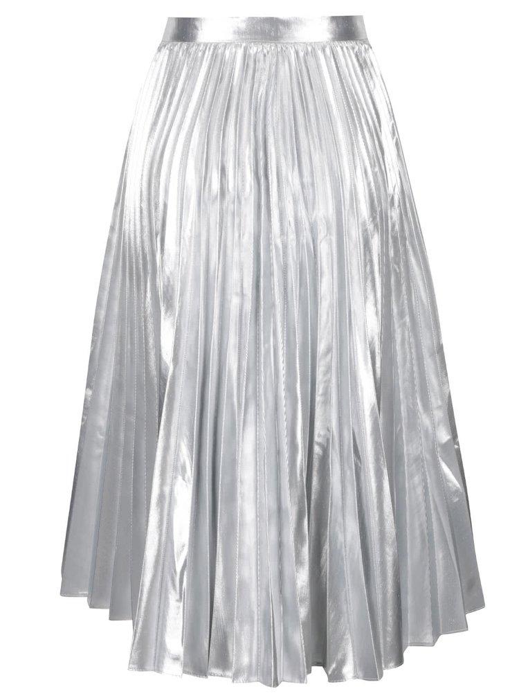 Plisovaná midi sukně ve stříbrné barvě Closet