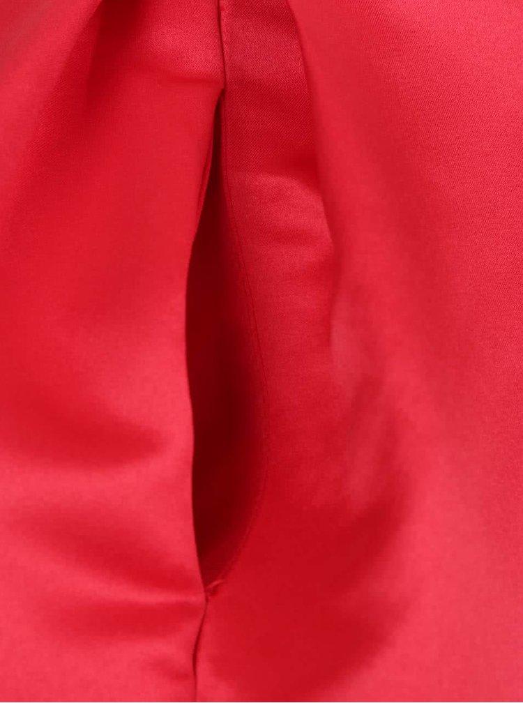 Červená lesklá midi sukně Closet
