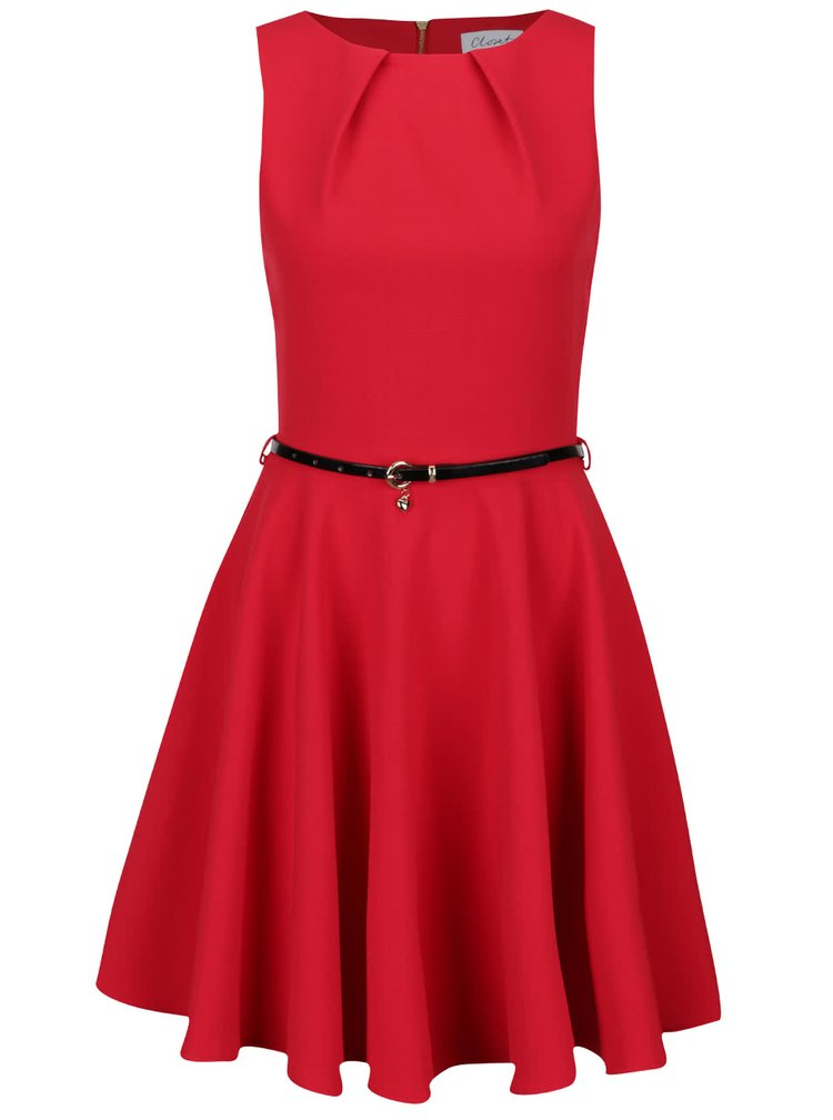 Červené šaty s černým páskem Closet