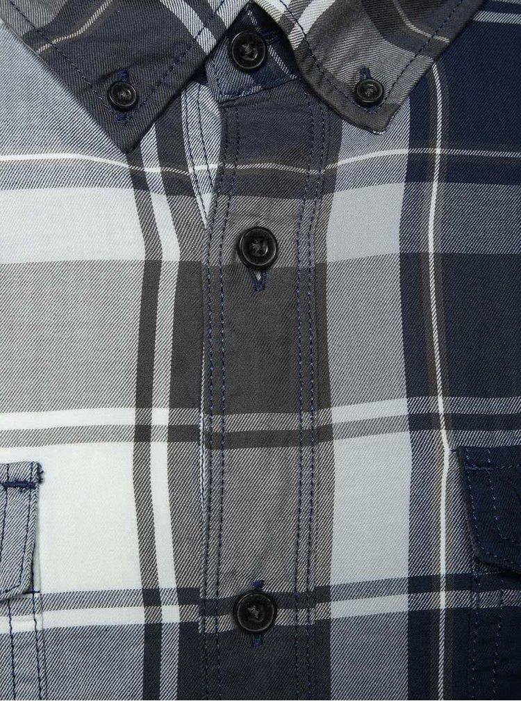Modro-šedá pánská kostkovaná slim fit košile s.Oliver