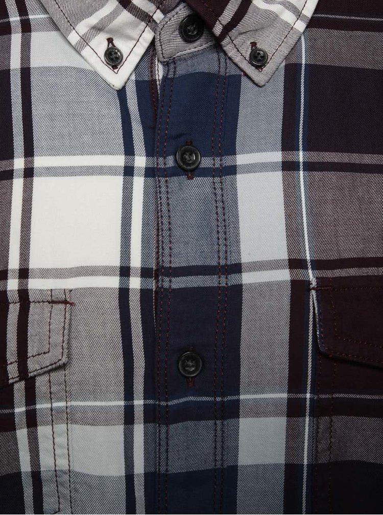 Camasa albastru & violet s.Oliver slim fit din bumbac cu model in carouri