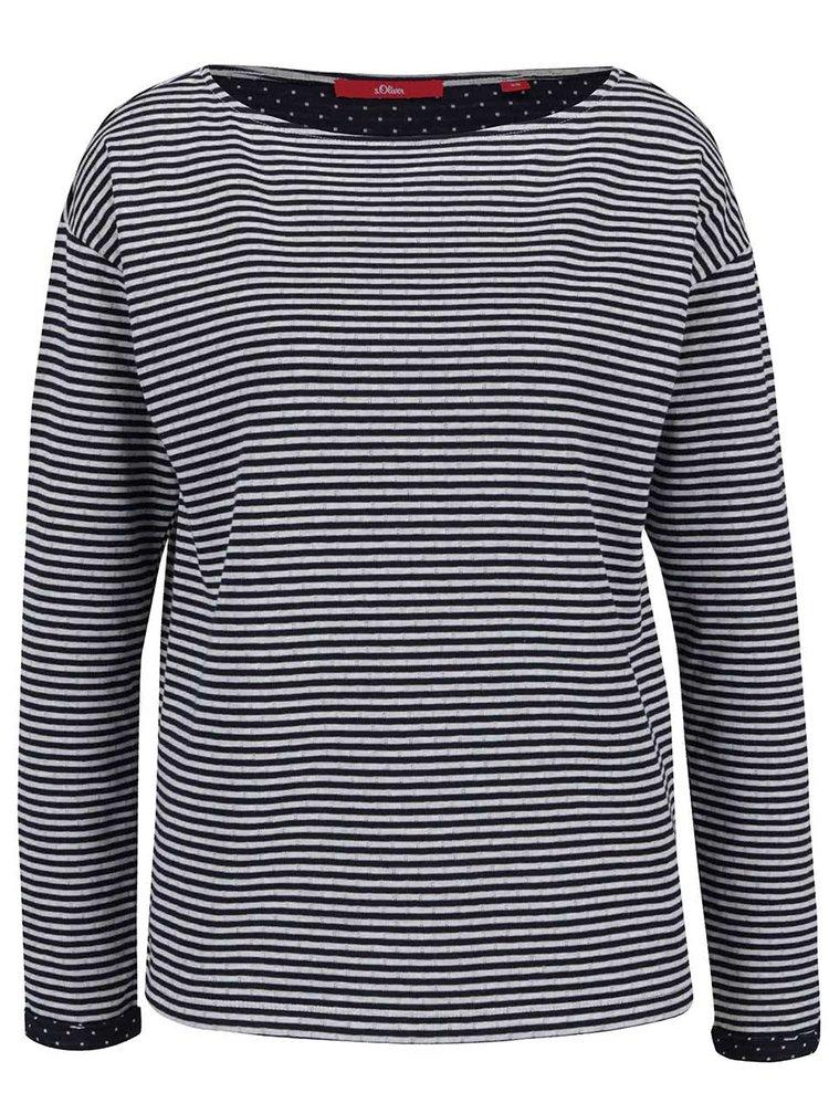 Tmavě modré pruhované dámské tričko s dlouhým rukávem s.Oliver