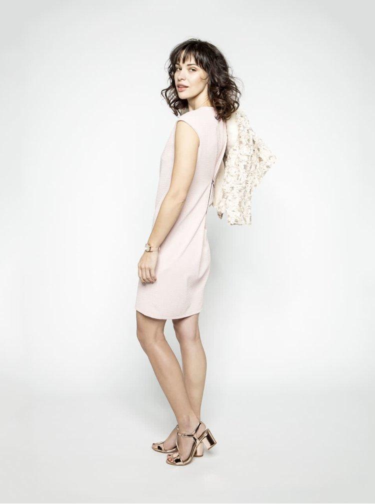 Růžové vzorované šaty se zipem Alchymi Adorea