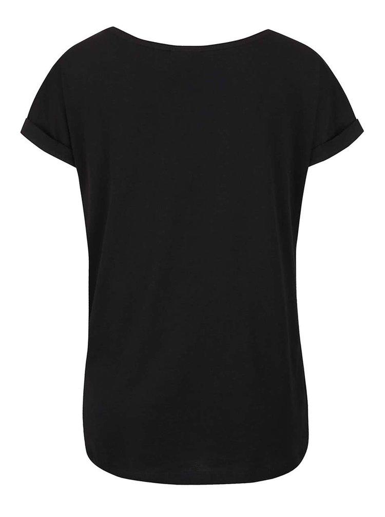 Černé tričko nápisem ve stříbrné barvě VERO MODA Gothic