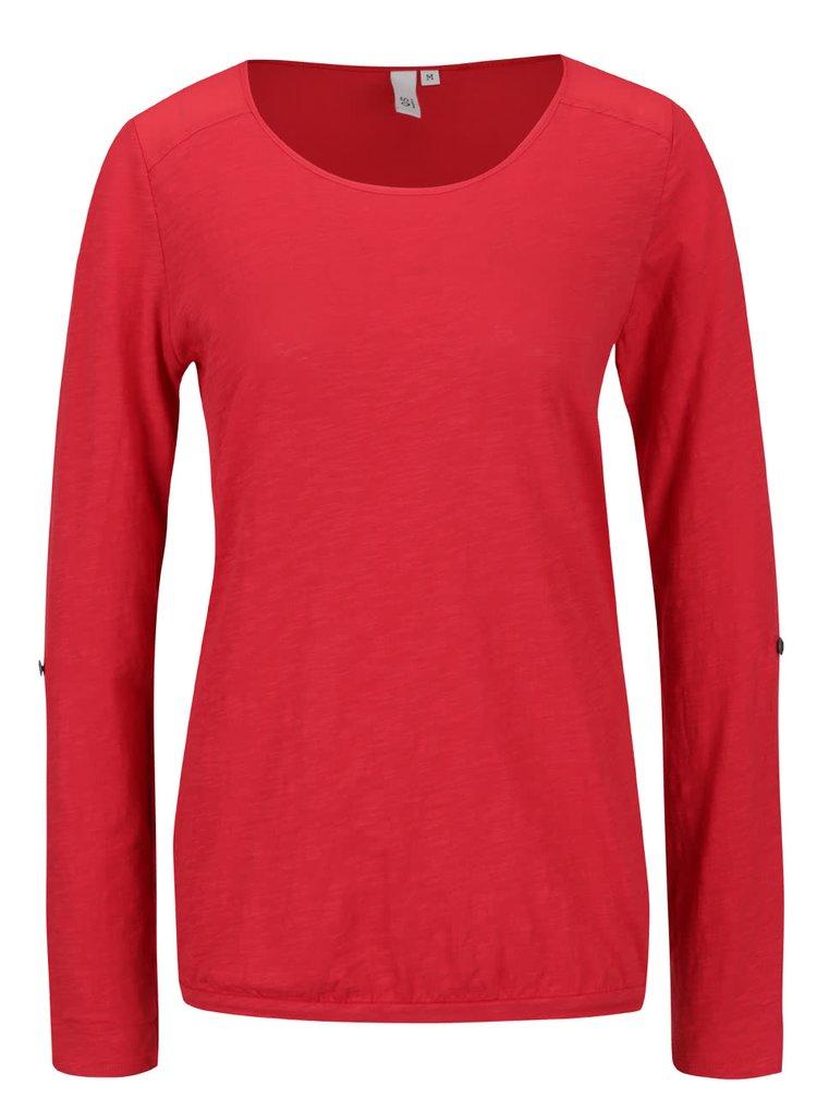 Červené dámské tričko s průsvitným detailem QS by s.Oliver