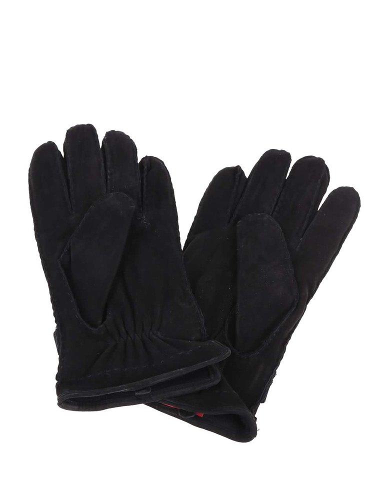 Černé pánské kožené rukavice s.Oliver