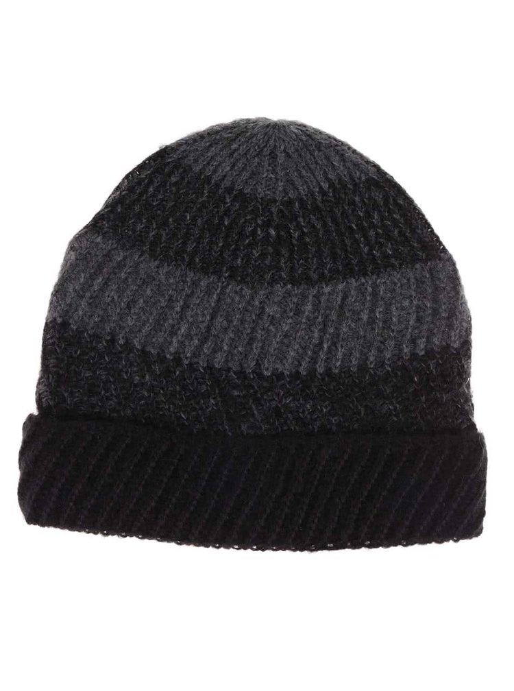 Šedo-černá pánská pruhovaná čepice s.Oliver