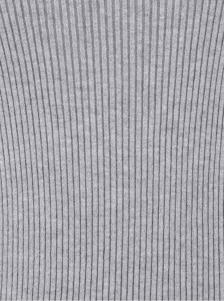 Světle šedý žebrovaný svetr VERO MODA Glory